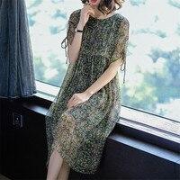 2018 Spring Summer New Brand Vintage Elegant Retro Floral Print Silk Midi Designer Cloth Vestidos Long Women Dress Plus Size