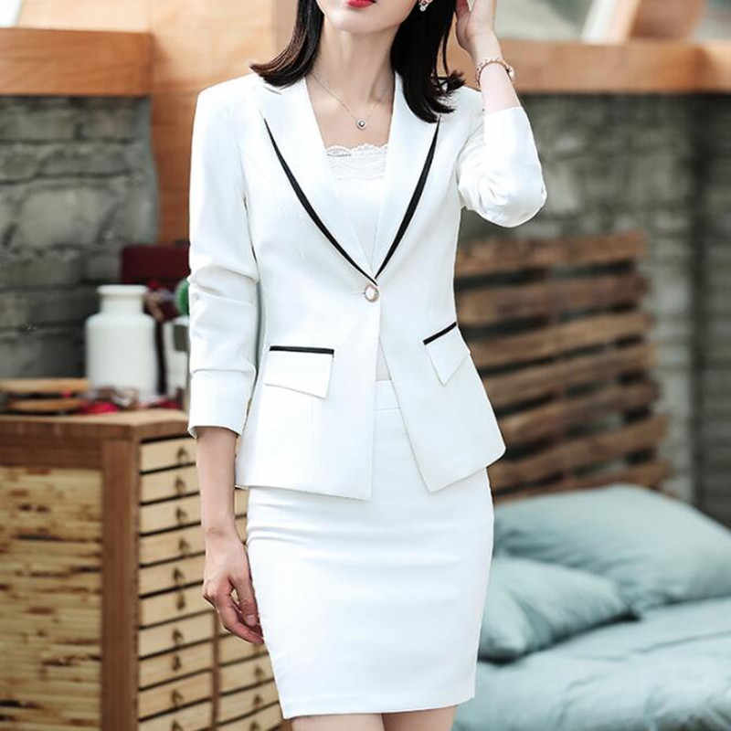 Womens Suit Formele Kantoor Business Wear Voor Dames Blazer Jacket Slim Mini Korte Bodem Elegant Wit 2 Delige Set Plus size 4XL