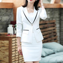 Womens Dress 한 벌 공식적인 Office Business 착용 대 한 숙 녀 와 Blazer Jacket Dress Slim 우아한 White 2 개 Set Plus size 4XL(China)