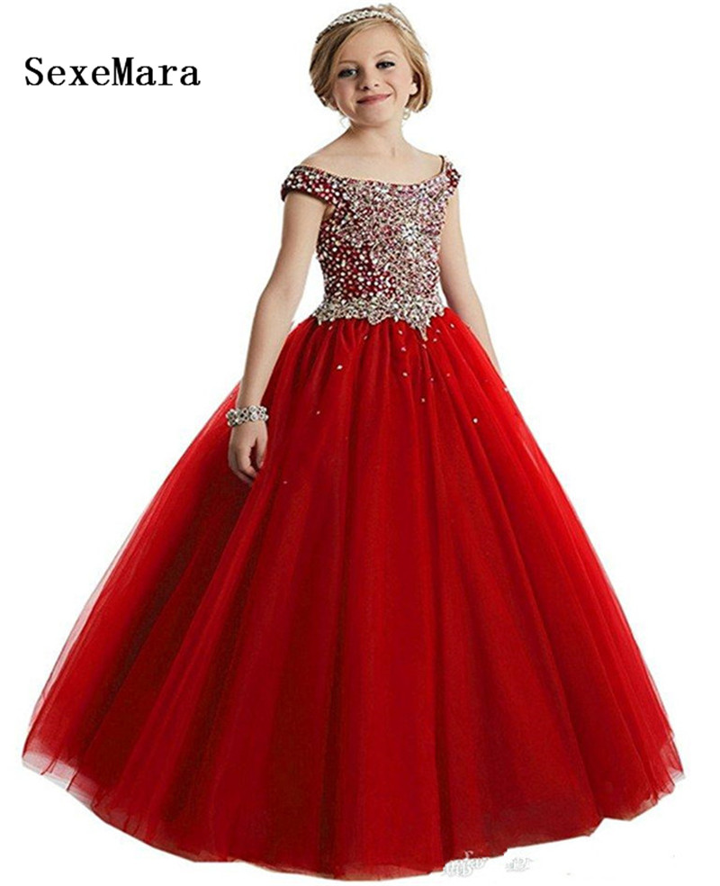 Luxury Beading Crystals   Flower     Girl     Dresses   For Weddings   Girls   Pageant Princess Tulle Gown Kids First Communion   Dress   Size 2-16Y