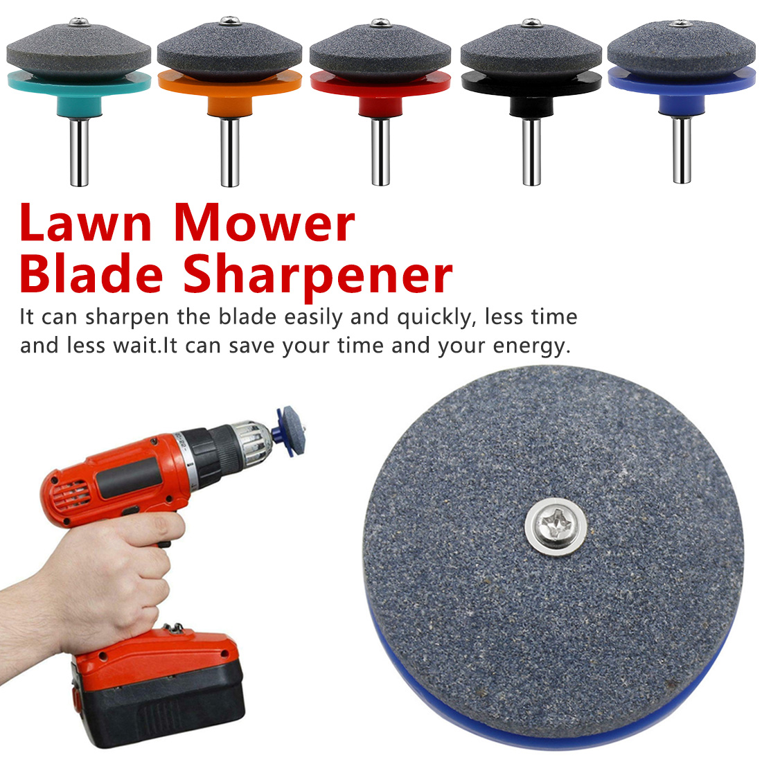 Rotary Tool 5 Colors Lawnmower Blade Sharpener Grinding Garden Tools Power Drill Hand Drill Universal Sharpening Stones