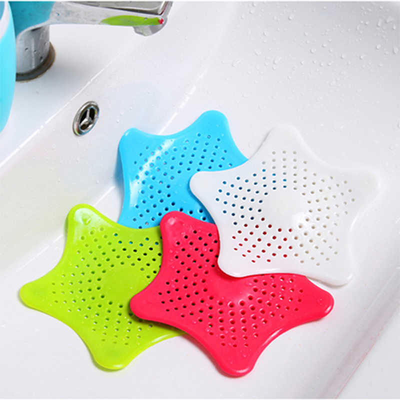 1pcs Creative five-point star kitchen Drains Sink Strainers Filter sink prevents clogging floor drain screen sea star silicone