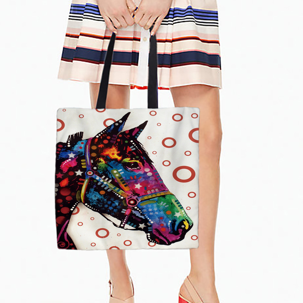 Horse Designs Tote Bags Double Sided Printing Canvas Different Animals Pattern Open Pocket Bag Shopping Handle Bags