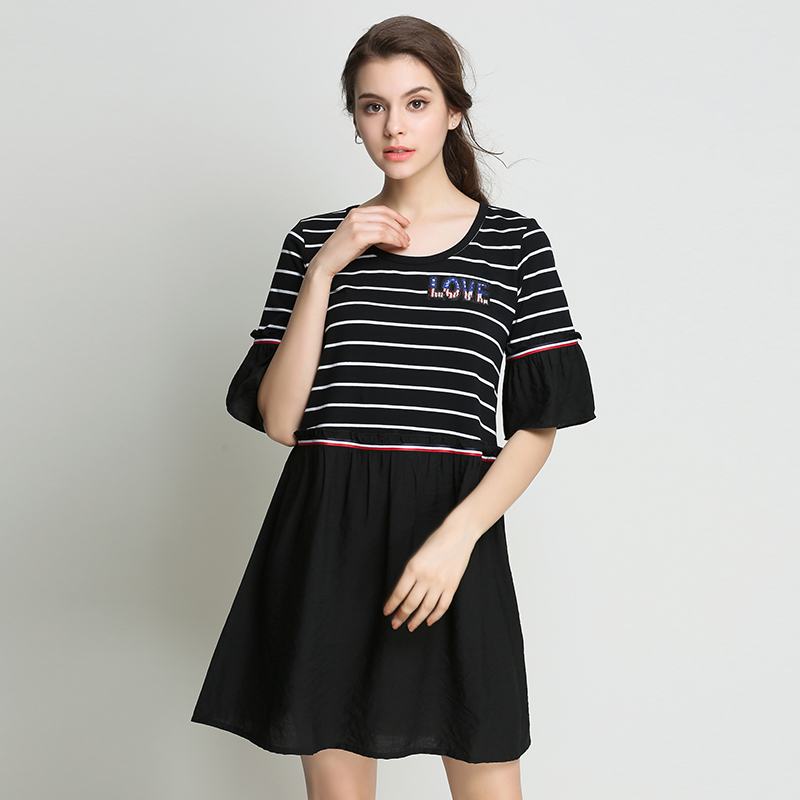 2017 Summer font b Women b font Casual Plus Size Dresses Striped Patchwork Black Elegant For