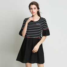 2017 Summer Women Casual Plus Size Dresses Striped Patchwork Black Elegant For Lady Flare Sleeve Dress A-Line Woman Clothing 5XL