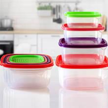 High Quality 4/7 pcs/set Colorful Rainbow Plastic Food Refrigerator Preservation Box Cake Fruits Salad Fresh Container