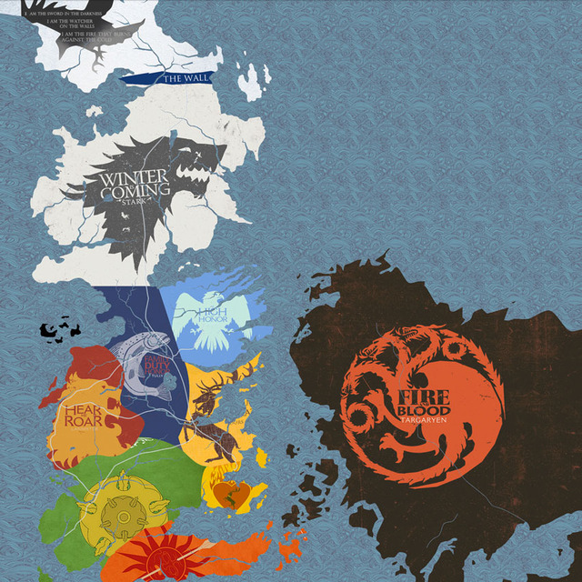 Of Thrones Houses Map Westeros And Free Cities Poster Home Deco 12x12 24x24 Inch Print On Silk B02