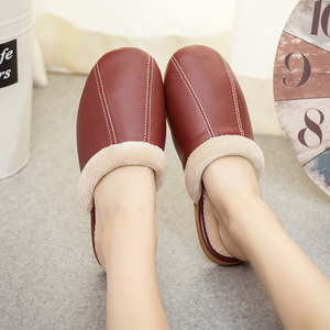 Image 2 - ST SUPER TRADE Winter Women Leather Slippers Home Shoes Sheepskin Slipper Warm Comfortable Thick Bottom Slippers