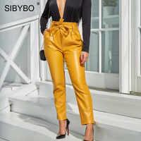 74c59af01a32 Sibybo Высокая талия из искусственной кожи повседневные штаны для женщин  для Весенняя мода брюки-дудочки