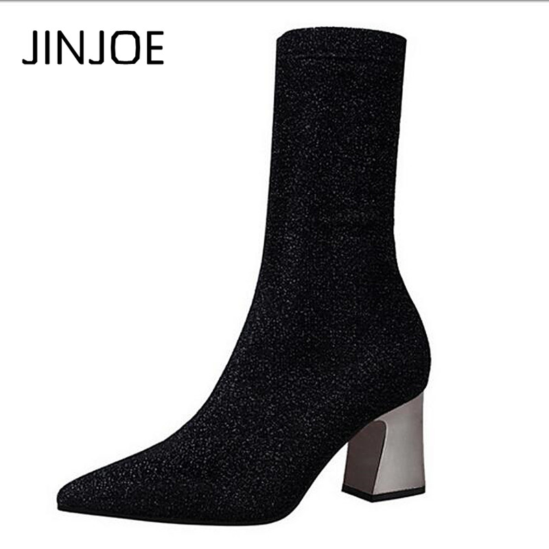 Sexy short tube rough heels stovepipe nightclub sequined fabric pointed shiny stretch knitting wool elastic Lycra short boots