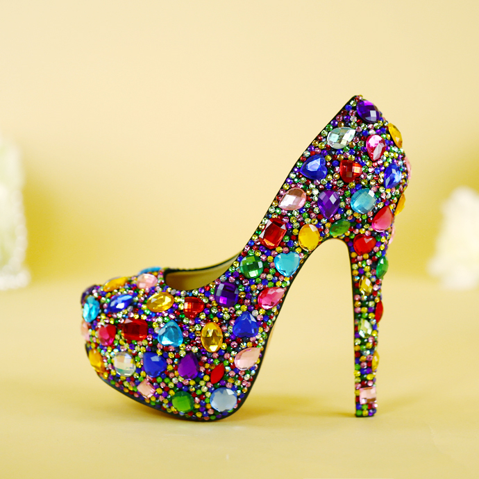 ФОТО muilti color rhinestone wedding shoes high shoes woman up heel platform shoes plus size 34-43 women's party shoes free shipping