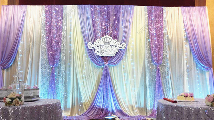 Free Shipping 3M6M Voilet Wedding Backdrop White Curtain With Lilac Drape And Shiny Sequin Decoration In Party Backdrops From Home Garden On