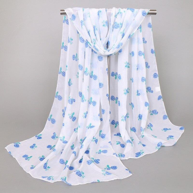Women Chiffon Silk   Scarf   Luxury Brand Female Flower Beach   Scarf   Fashion Lady Girls   Scarves     Wrap   Shawl Lic