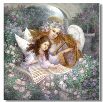 Mother and Daughter in the Rose Garden Embroidery Needlework 14CT Canvas Unprinted DIY Cross Stitch Kits Handmade Arts Decor