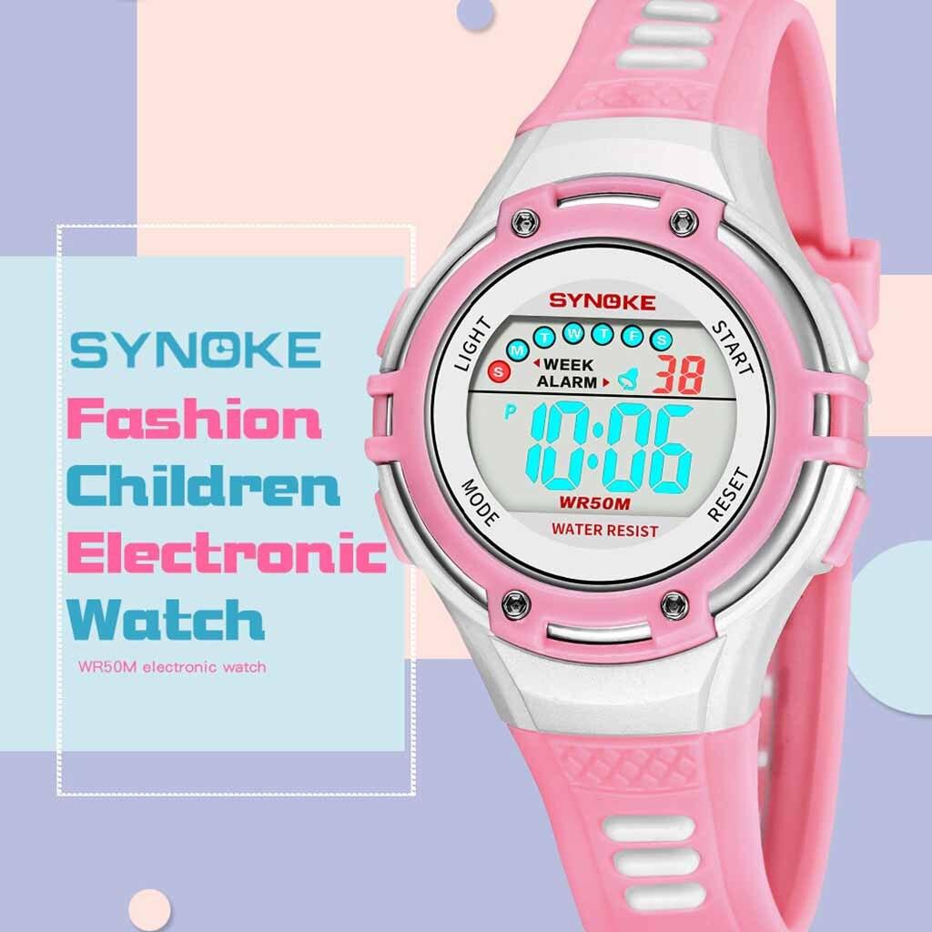 SYNOKE Children Digital Watch Multi Function LED Night Light Alarm Waterproof 5Bar Electronic Watches orologi bambini +% 23N03СИНОКЕ Детские Цифровые Часы Многофункциональный Светодиодный Ночной Свет Будильник