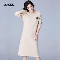 XJXKS Knitted Dresses Woman Wool Dress Spring and Autumn Long Sleeve Slim Female Pullovers O Neck Sweater Dress Elegant F9572