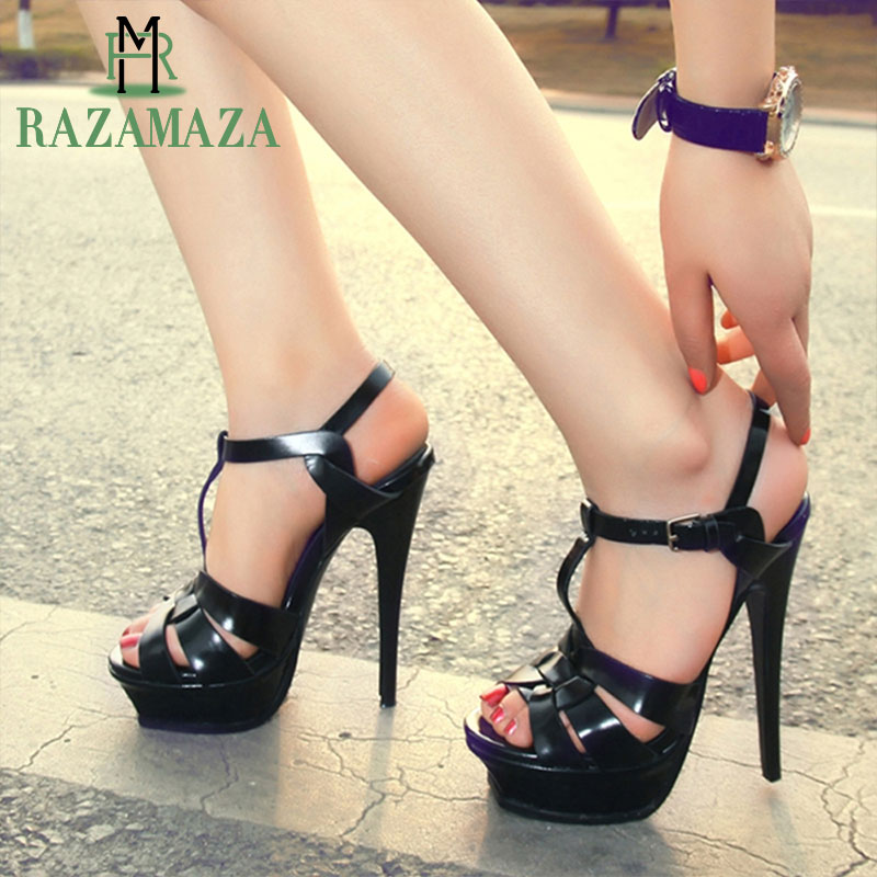 RAZAMAZA Dropshipping Real Genuine Leather Sandals Shoes Woman T strap Platform Sexy Ladies Footwear Summer Party