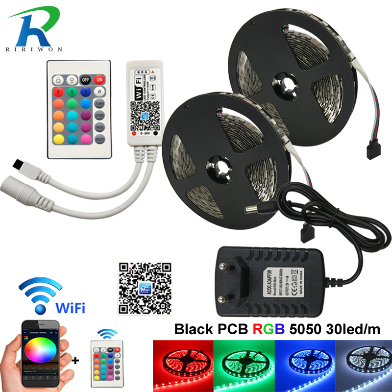 WiFi RGB LED Strip DC 12V Controller Syc Control by Alexa Google Home Smart Phone 10M 300LED 5050 LED Strips light WiFi Full Set smart wifi controller phone app rgb cct dimmer strip controller by amazon echo alexa google home smart voice control rgb strip