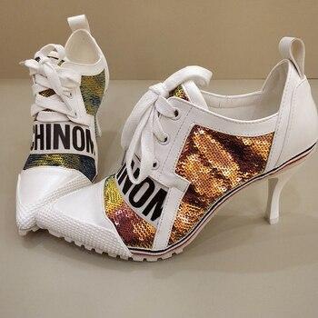 Korea Edition Pumps Women Shoes Color Pointed Girl Thin Heel High Heels 7.5CM Lace-Up Female Pumps Shoes Women Princess Shoes