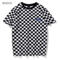 HEYGUYS Plaid T Shirt Classic Black and White Lattice Basic Cotton O Neck Patchwork Embroidery Chess T-Shirt Geek Dark Souls