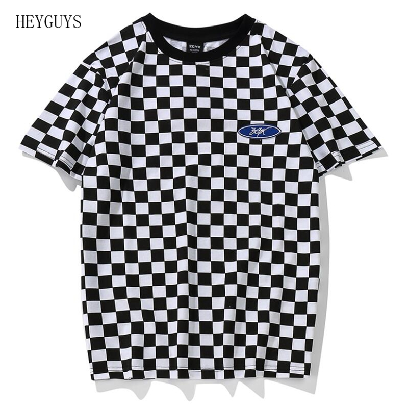 HEYGUYS Plaid   T     Shirt   Classic Black and White Lattice Basic Cotton O Neck Patchwork Embroidery Chess   T  -  Shirt   Geek Dark Souls