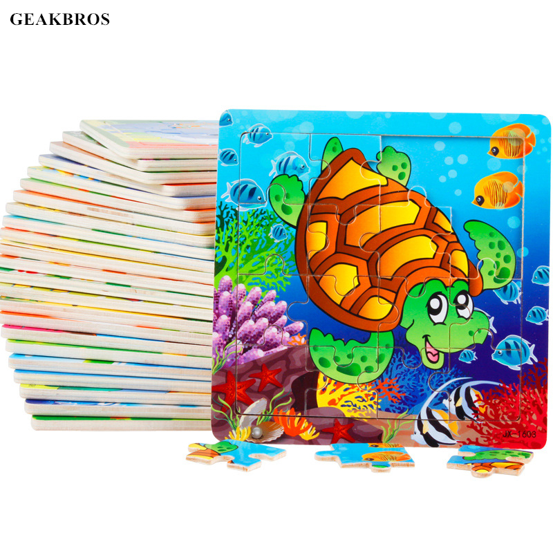 16pcs/set Modern Cartoon Baby Puzzle Jigsaw Toys Wooden Early Education Learning Toy For Kids Panda Cow Frog Bee Hedgehog