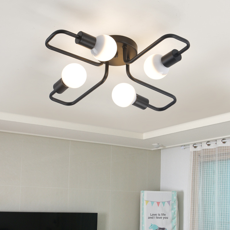 Creative Vintage Ceiling Lamp Black Wrought Iron Ceiling Lighting Luminaire Fixture Bedroom Living Room Study E27 Bulb Lamp Creative Vintage Ceiling Lamp Black Wrought Iron Ceiling Lighting Luminaire Fixture Bedroom Living Room Study E27 Bulb Lamp
