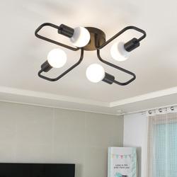 Kreatywny rocznika lampa sufitowa czarny kutego żelaza oświetlenie sufitowe oprawa oprawa sypialnia badania salon E27 lampy|Oświetlenie sufitowe|   -