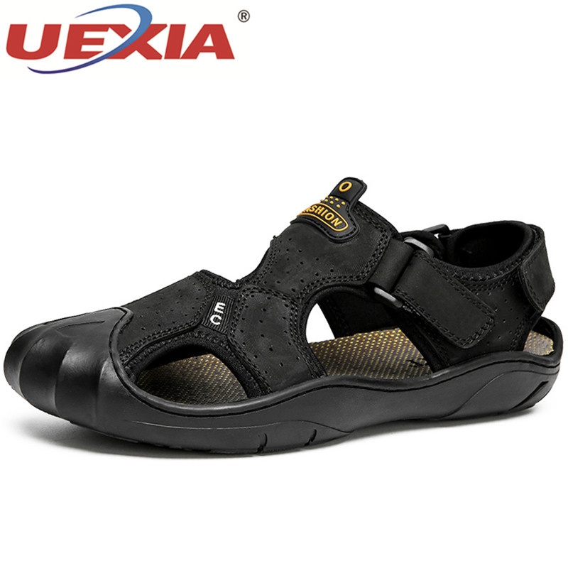UEXIA Anti-collision toe Shoes Men Sandals Summer Flats Leather Outdoor Beach Slippers Walking Sport Male Rubber Sole Casual