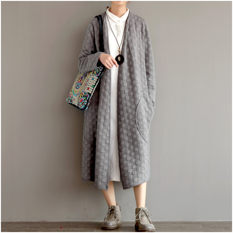 Autumn winter woman vintage loose dot maxi sweater coat maxi ...