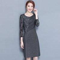 2018 Fashion Ladies Elegant Grey Autumn Dress Women S Robe Office Lace Bodycon Party Dresses Women