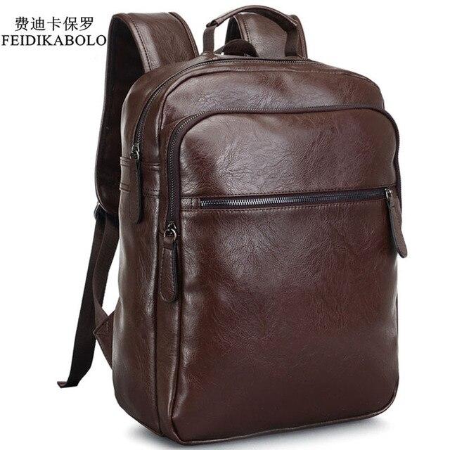40ce6dae18cf 2019 мужской кожаный рюкзак высококачественный Молодежный Путешествия Рюкзак  Школа Книга сумка мужской ноутбук рюкзак в деловом