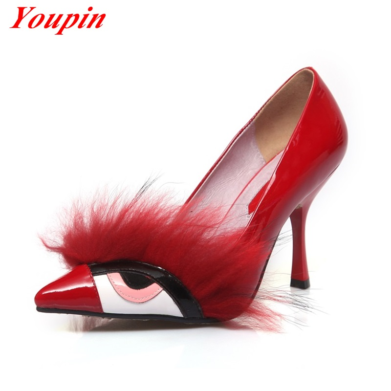 Women High Heel Shoes Novelty New Shoes 2015 Spring Summer Red Blue Yellow Genuine Leather Women