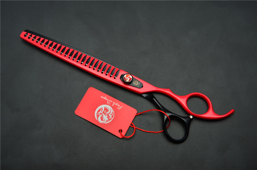 8.0'' 22.5cm Purple Dragon Professional Dogs Cats Pets Hair Shears Hairdressing Scissors 23 Teeth Fishbone Thinning Shears Z4004 12