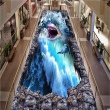 papel de parede 3D Wall paper Floor Sea World Shark 3D Outdoor Outdoor Painting Floor Painting PVC Wear Self-adhesive Wallpaper