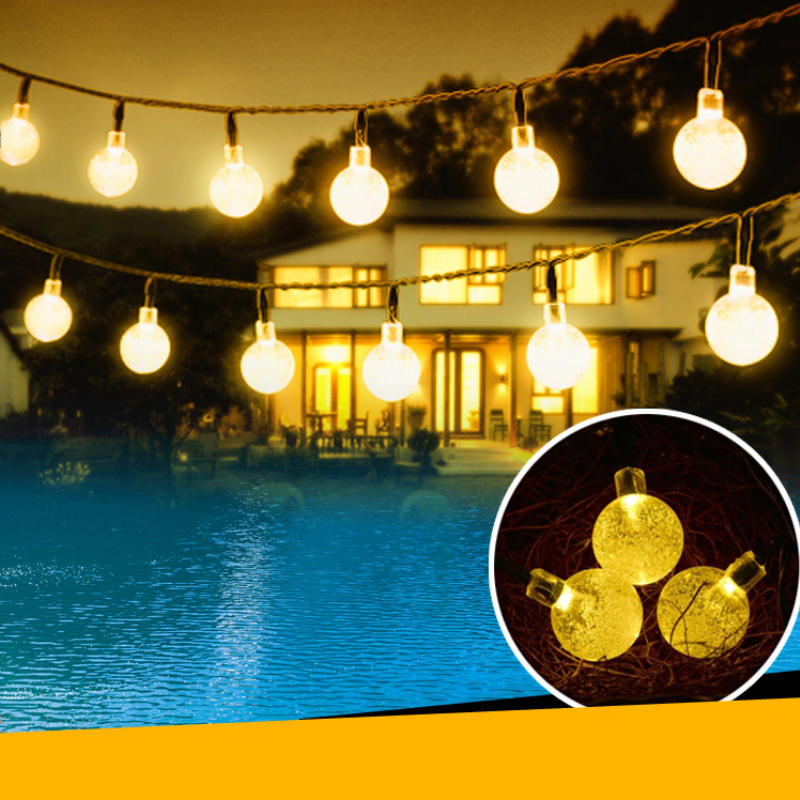 timeless design f5476 fd94c US $7.91 28% OFF|6 meter 30 LEDs Bubble String Lights Globes Solar Powered  Fairy Lights Waterproof Decorative Light Wired Party Glow Decoration-in ...