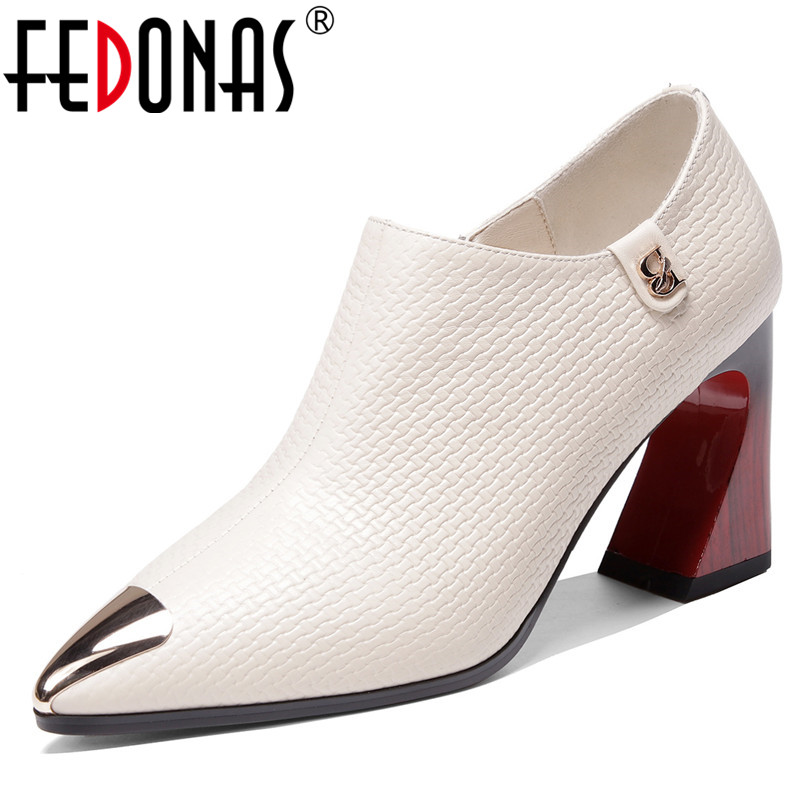 FEDONAS Classic Pointed Toe Zipper High Heels 2020 Spring Summer Quality Genuine Leather Women Pumps Party Office Shoes Woman