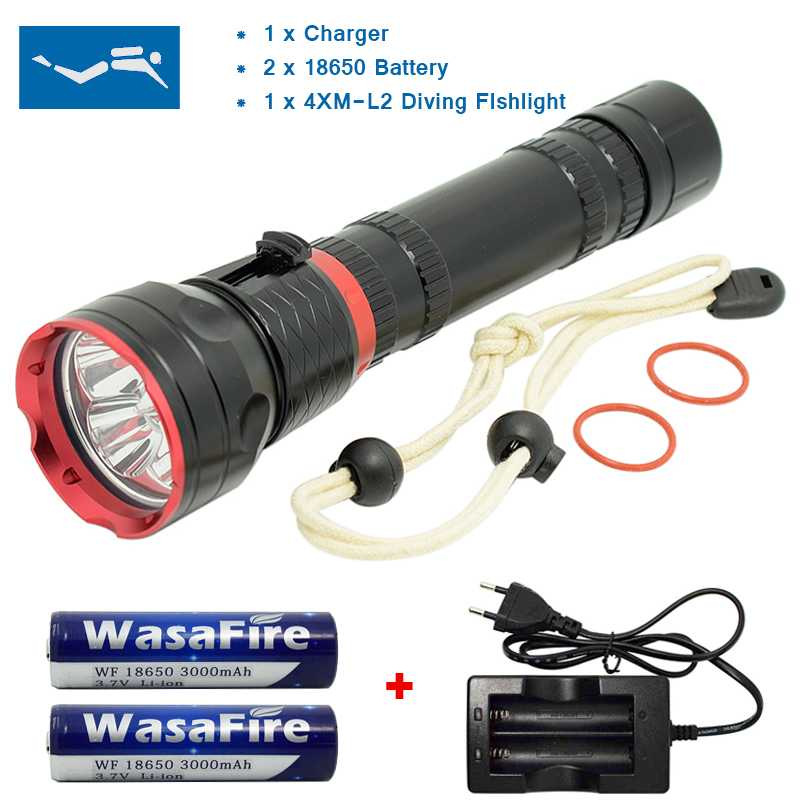 Diving Flashlight 4 * XML L2 LED Underwater Diver Torch Super Bright Waterproof Lamps + 18650 Battery + Charger sitemap 143 xml page 4
