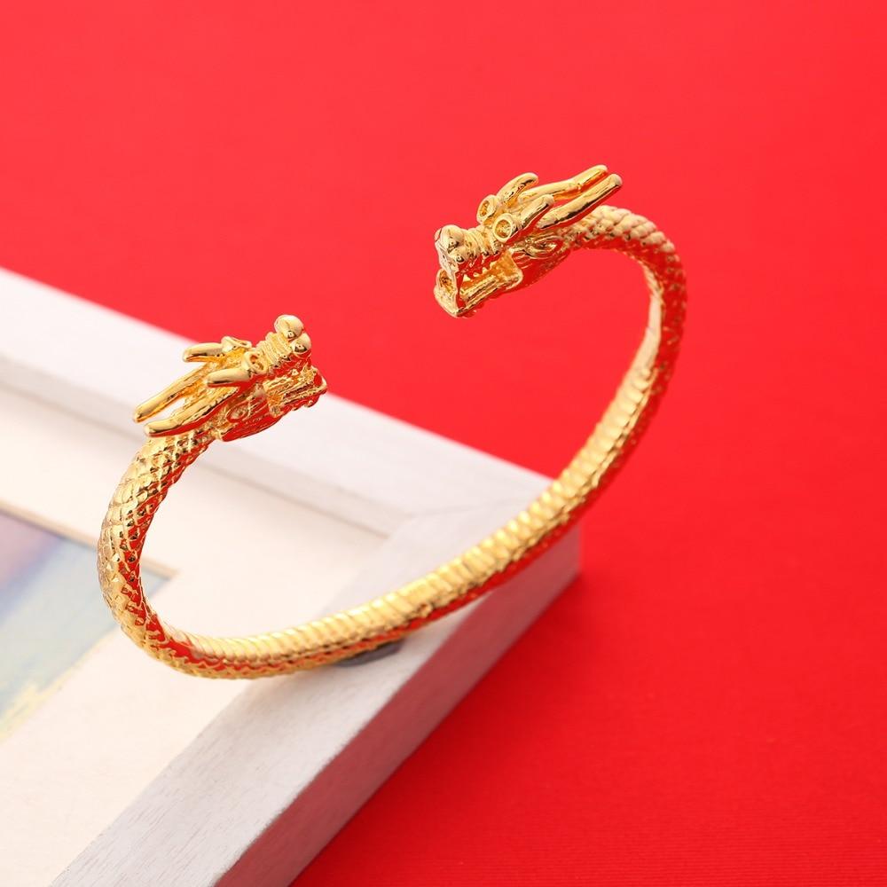 Dragon Bracelet Bangle For Men Women 24K Gold Bangle Mascot Jewelry Animal Bracelet Guyana South America Bangle