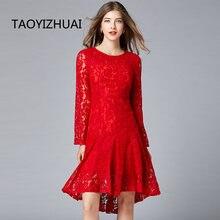 Женское кружевное платье taoyizhuai Красное Облегающее рыбий