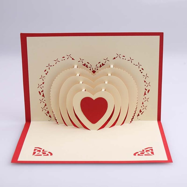 Cheap Popular 3D Stereoscopic Creative Birthday Gift To Marry Soulmate Confession Hot Love Letter Greeting Cards