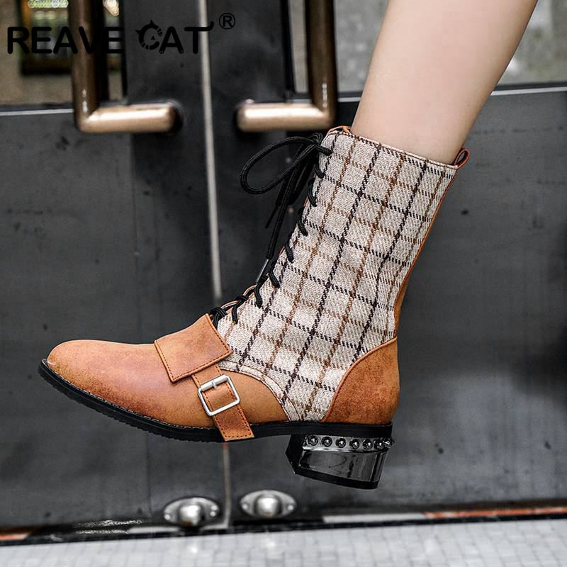 Ankle-Boots Buckle Lace-Up Hiking-Shoes Low-Heels Plaid Pointed-Toe Reave Cat Black Winter