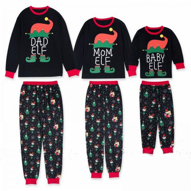 Christmas Family Matching Outfits Elf Pajamas Set Xmas Adult Kids Sleepwear Nightwear Pj's Clothing Sets