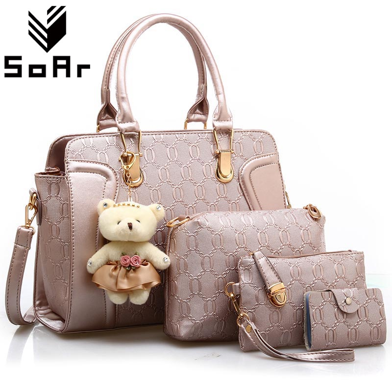 SoAr Top-Handle Bags 2017 Fashion Women Shoulder Messenger Bags Leather Handbag With Purse Toy Famous Brand Composite Bag 4 Sets 2017 new fashion women handbag messenger shoulder bag famous brand pillow pattern pu leather crossbody top handle bag hot sale