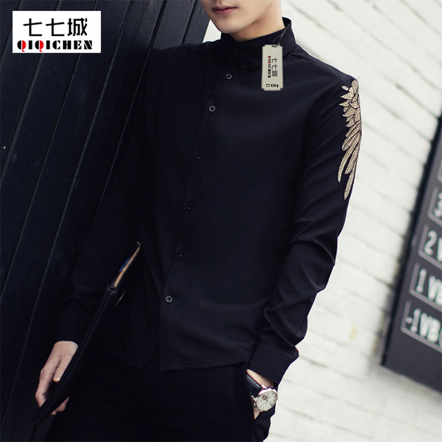 Chemise Homme 2017 New Spring Solid Long Sleeve Embroidered Shirt Men  Korean Fashion Slim Fit Casual