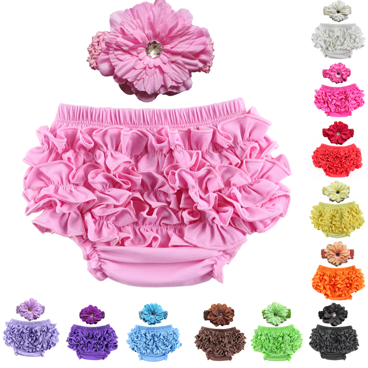 2017 Tidsbegrenset Retail Cotton Ruffle Baby Bloomers 12 Farger Cute Bukser Tutu Design Infant Short Bleie Cover Headband Set