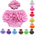2017 Time-limited Retail Cotton Ruffle Baby Bloomers 12 Colors Cute Pants Tutu Design Infant Short Diaper Cover Headband Set