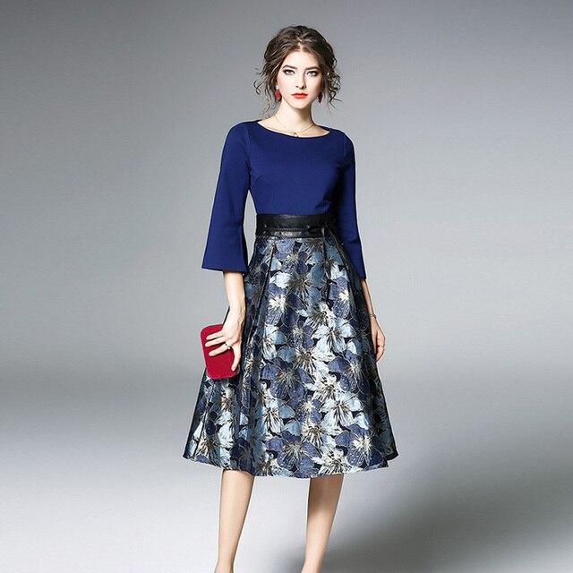 Bonnie Thea Autumn women's midi dress elegant blue Jacquard dress female long Sleeve ladies dresses Evening party dress clothes 3