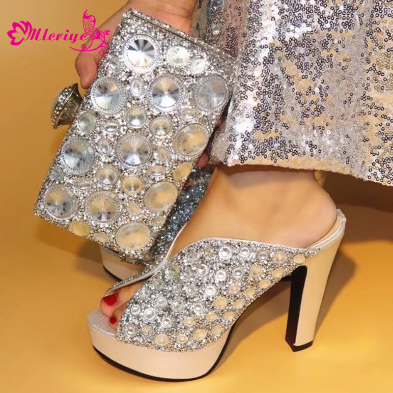 Women Shoes silver With Shining Crystal good quality Italian Shoes Matching With bag Italian Shoes With Matching Bags Set aidocrystal luxury handmade crystal sunflower high heel women italian shoes with matching bags