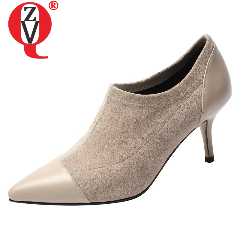 ZVQ shoes women 2019 spring newest fashion sexy faux suede women pumps pointed toe high thin